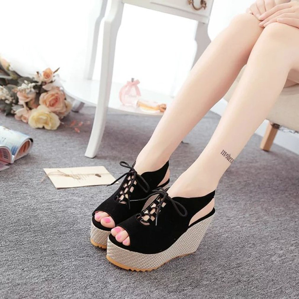 Fashion Slipsole Women Summer Sandals Peep Toe Girls Ladies Shoes Front Lacing Decoration Roman Shoes Elastic Gladiator Shoes