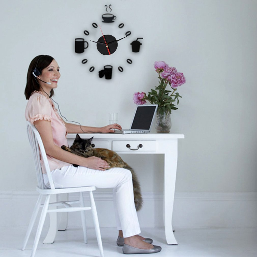 Modern DIY 3D Coffee Cup Clock Wall Sticker Wall Decal Home Decoration