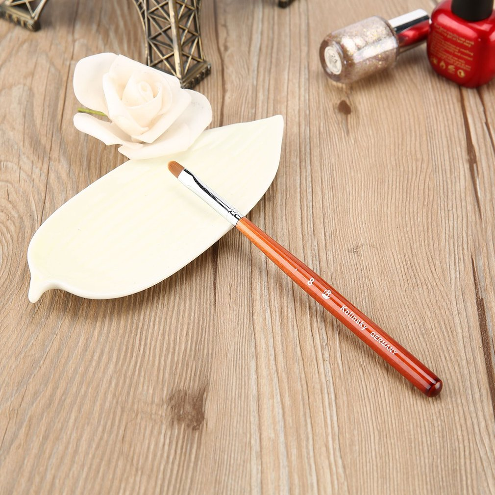 Semi-circle Phototherapy Nails Drawing Pens with Rosewood Handle & Mink Hair