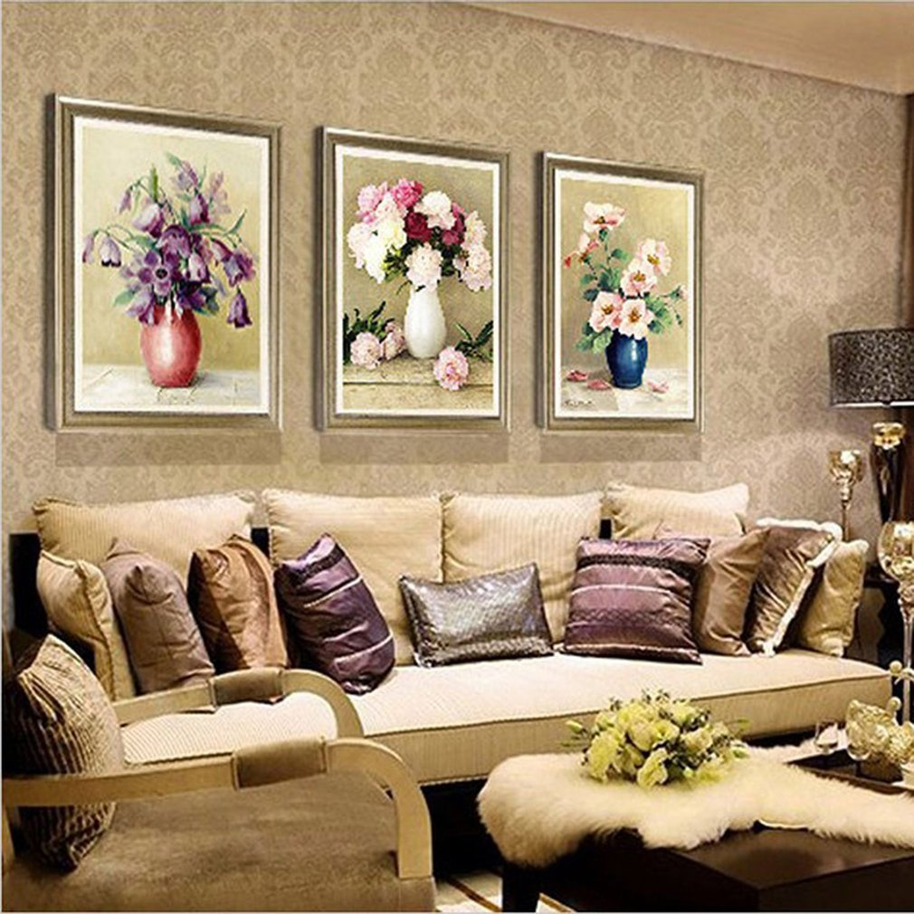 Megayouput 30*40CM DIY Decorative Cross Stitch Painting Flower Vase Painting