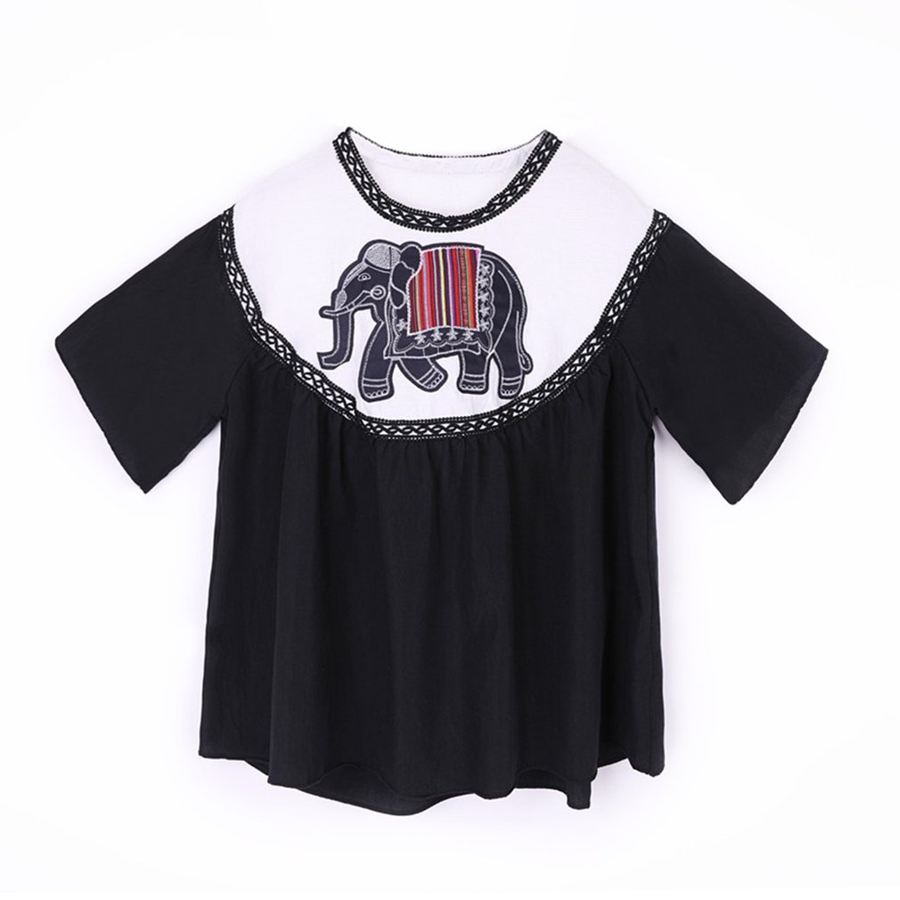 Loose Style Short Sleeve Women T-Shirt Casual Elephant Embroidery Ladies Female O Neck Shirt Tops All Match Clothes