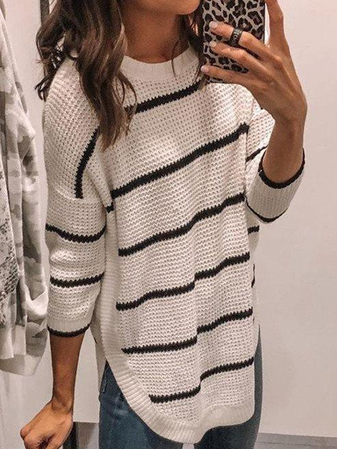 Round Neck Cotton-Blend Casual Sweater