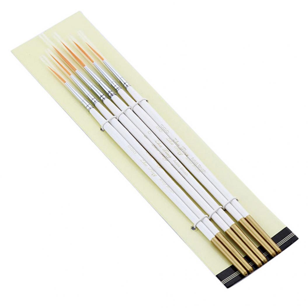6Pcs Watercolor Oil Gouache Acrylic Painting Brush Hook Line Pen Art Supplies