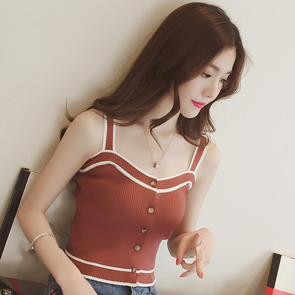 Summer Women Stripe Pattern Slim Vest Sexy Short Style Knitted Sleeveless Tops