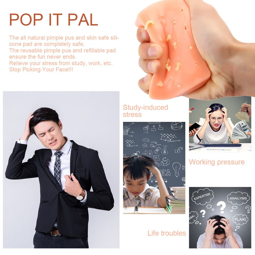 Pimple Popping Funny Toy Pop it Pal Stress Reliever Toys Squeeze Acne Toy