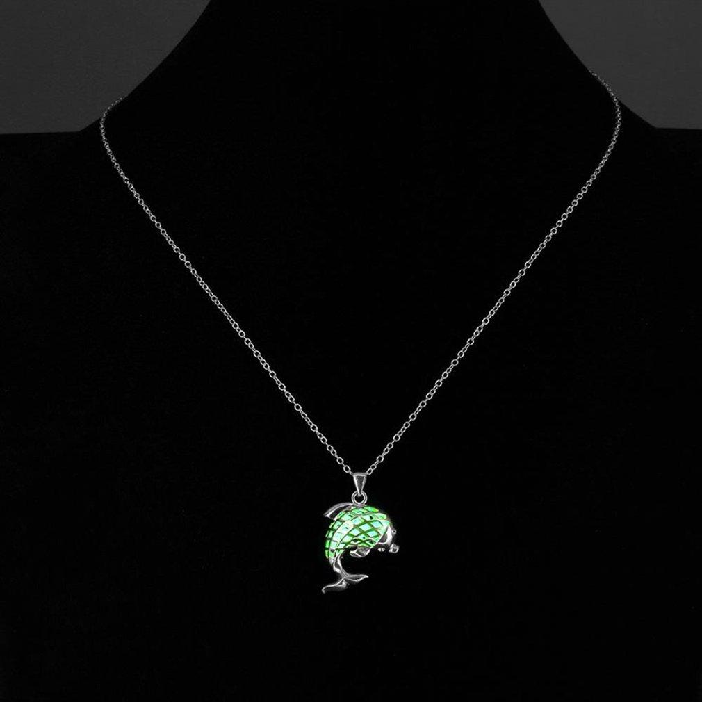 Fashionable Design Men Women Luminous Necklace Unique Animal Dolphin Pendant Necklace Fine Jewelry Unisex Gift