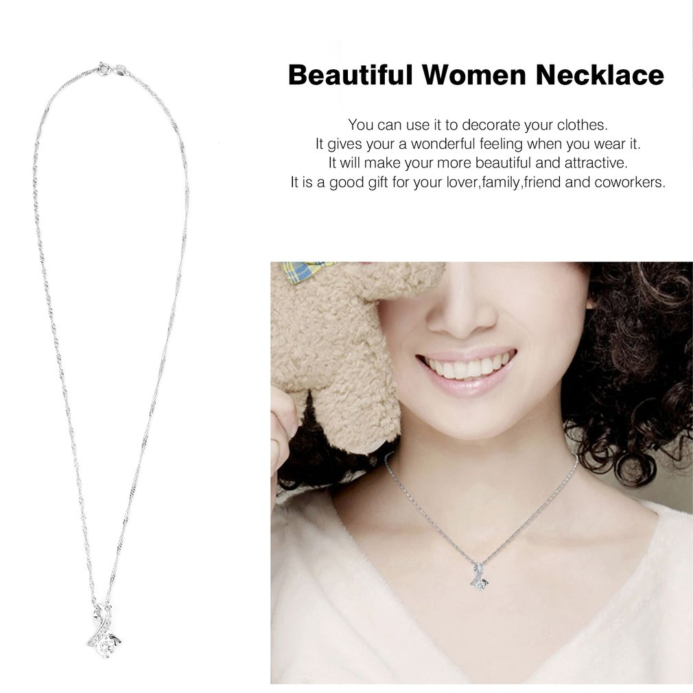 Beautiful Women Necklace Silver Color Fashionable Round Shape Necklace