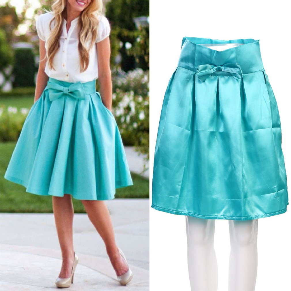 Fashion Women Vintage Retro High Waist Pleated Skirt Flared Middle Dress