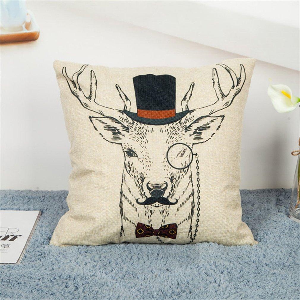 Elk Cushion Covers Linen Pillow Case Deer Fashion Car Sofa Home Decoration