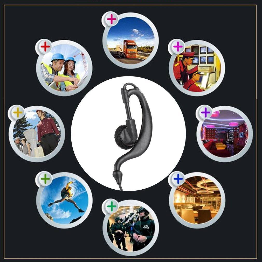 1 Pin Earpiece Headset PTT for Motorola Walkie Talkie MTP850 MTH800 MTH650 Portable Ham Radio G-Shape Clip Microphone Earphone