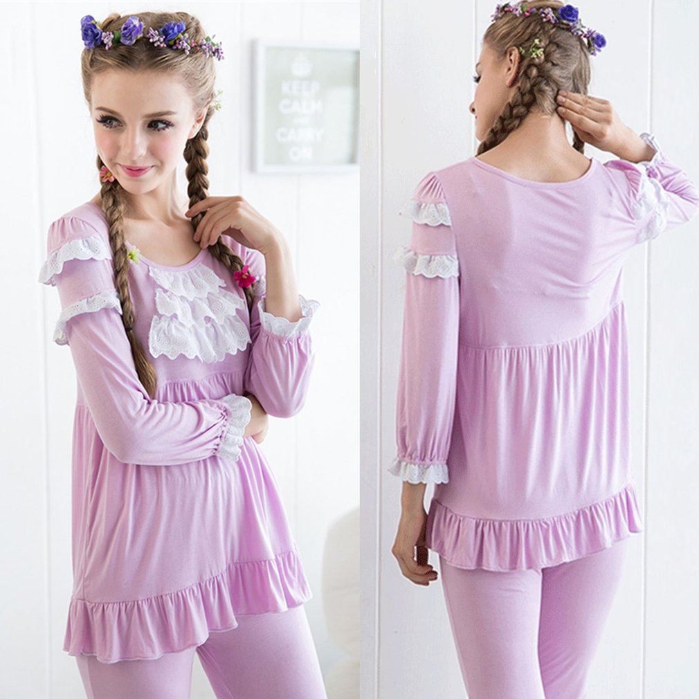 Spring & Autumn 2 Pcs Bamboo Fiber Pajamas Set Embroidered Lace Sleepwear