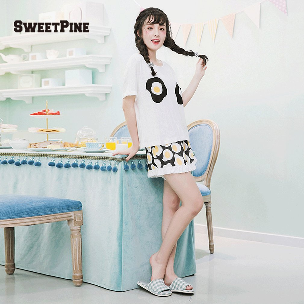 SWEETPINE 00472 Fried Eggs Printing Cotton Pajama Two-piece Set T-shirt&Shorts