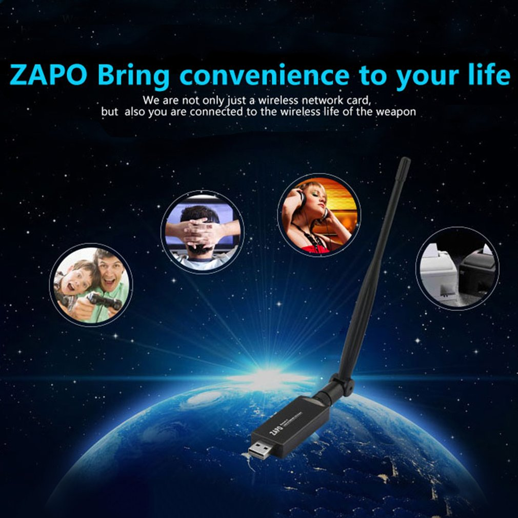 ZAPO W67L-5DB 600M Bluetooth 4.0 Dual Band 2.4G-5.8G USB2.0 Wi-Fi Network Card