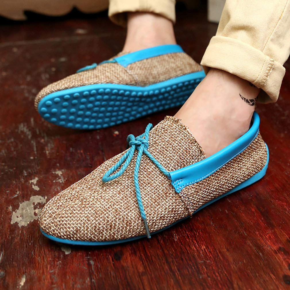 Linen Knitted Men Male Loafers Breathable Summer Anti-Slip Slip-on Loafers