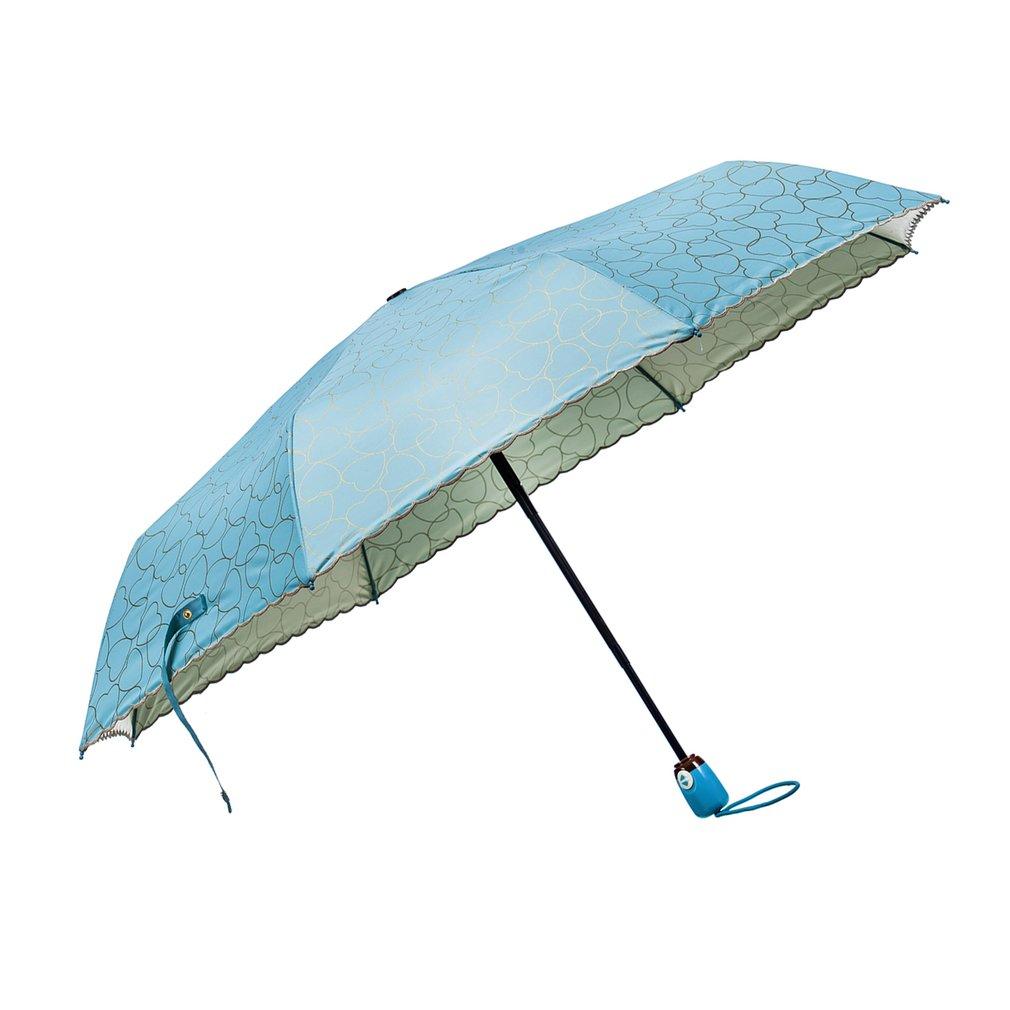Dual Use Sun Rain Umbrella Travel UV Protective Windproof 3-Folding Umbrella