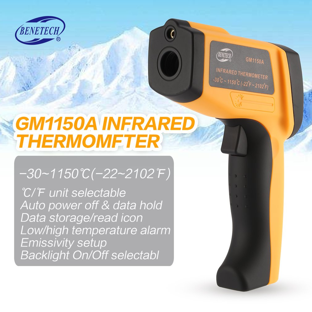 BENETECH GM1150A LCD Non-Contact IR Laser Infrared Temperature Thermometer Gun