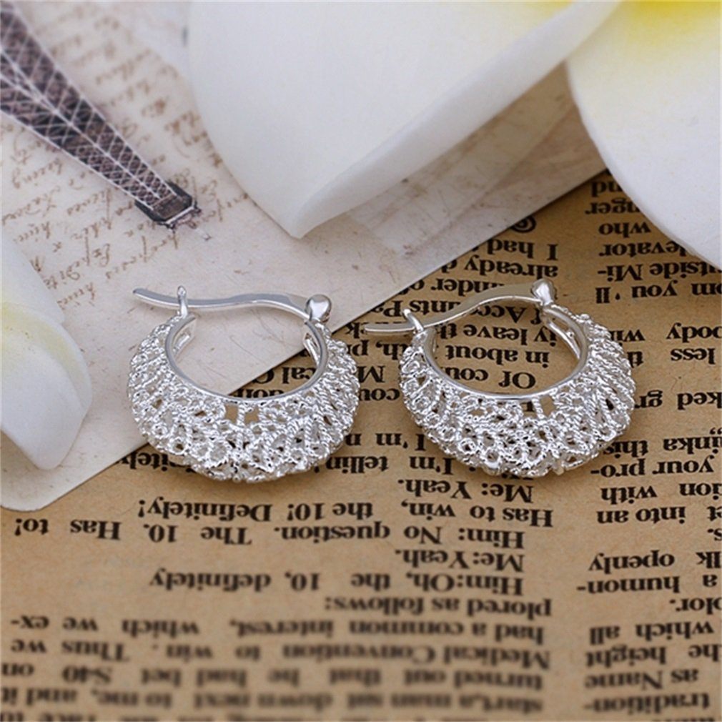 Elegant Lady Girl Silver Plated Flower Cutout Ear Hooks Clips Earrings