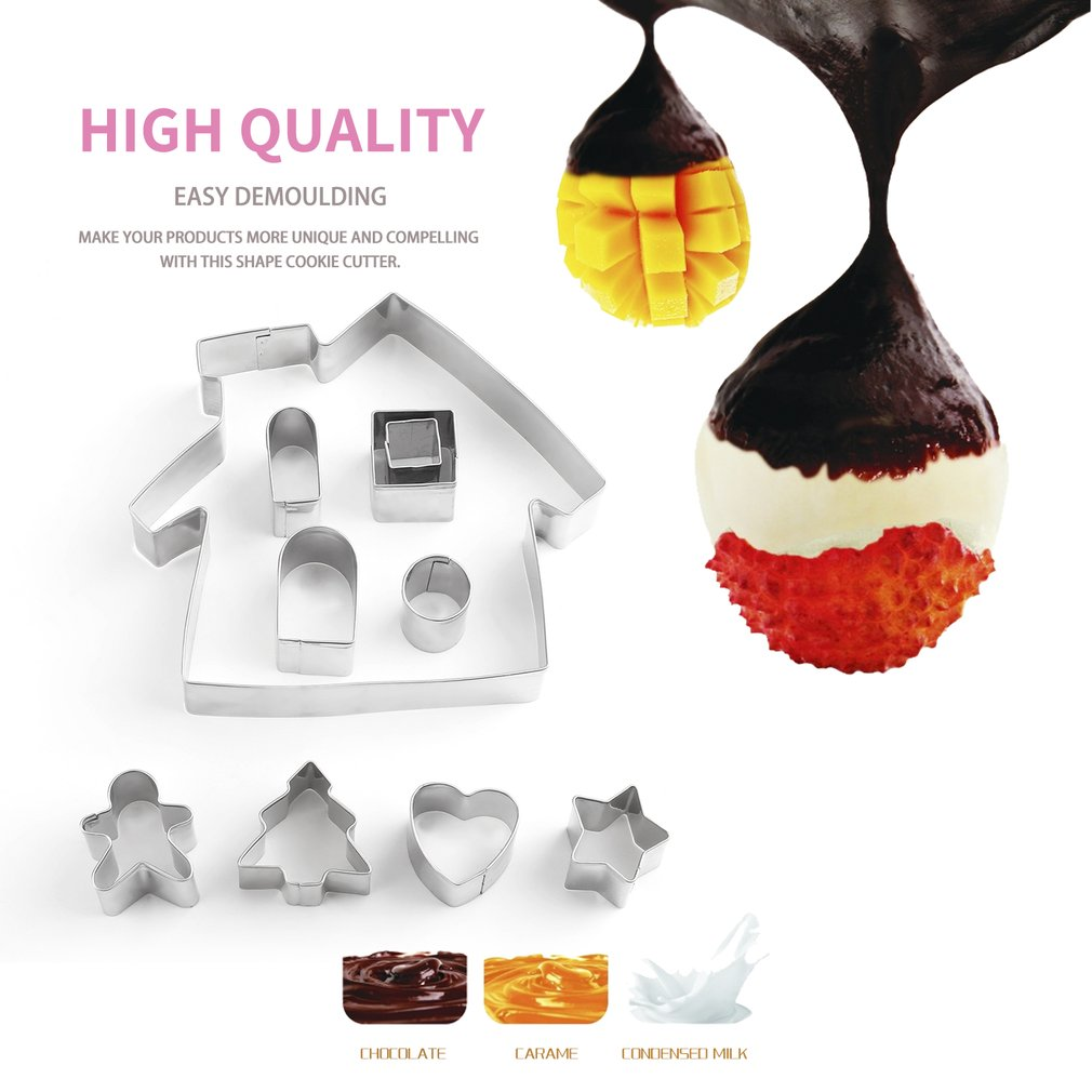 MANBO Christmas Stainless Steel Metal Plain Edge Cookie Mold Pastry Cutter Set