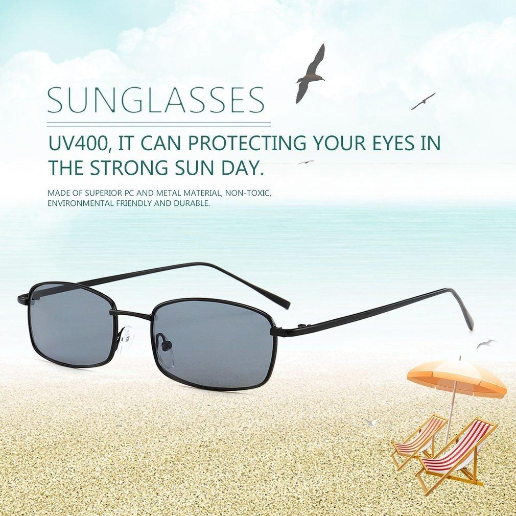 Trendy Cat Eyes Sunglasses Rectangle Metal Frame Sunglasses Vintage Style Eyewear Clear PC Lens UV400 Glasses for Women