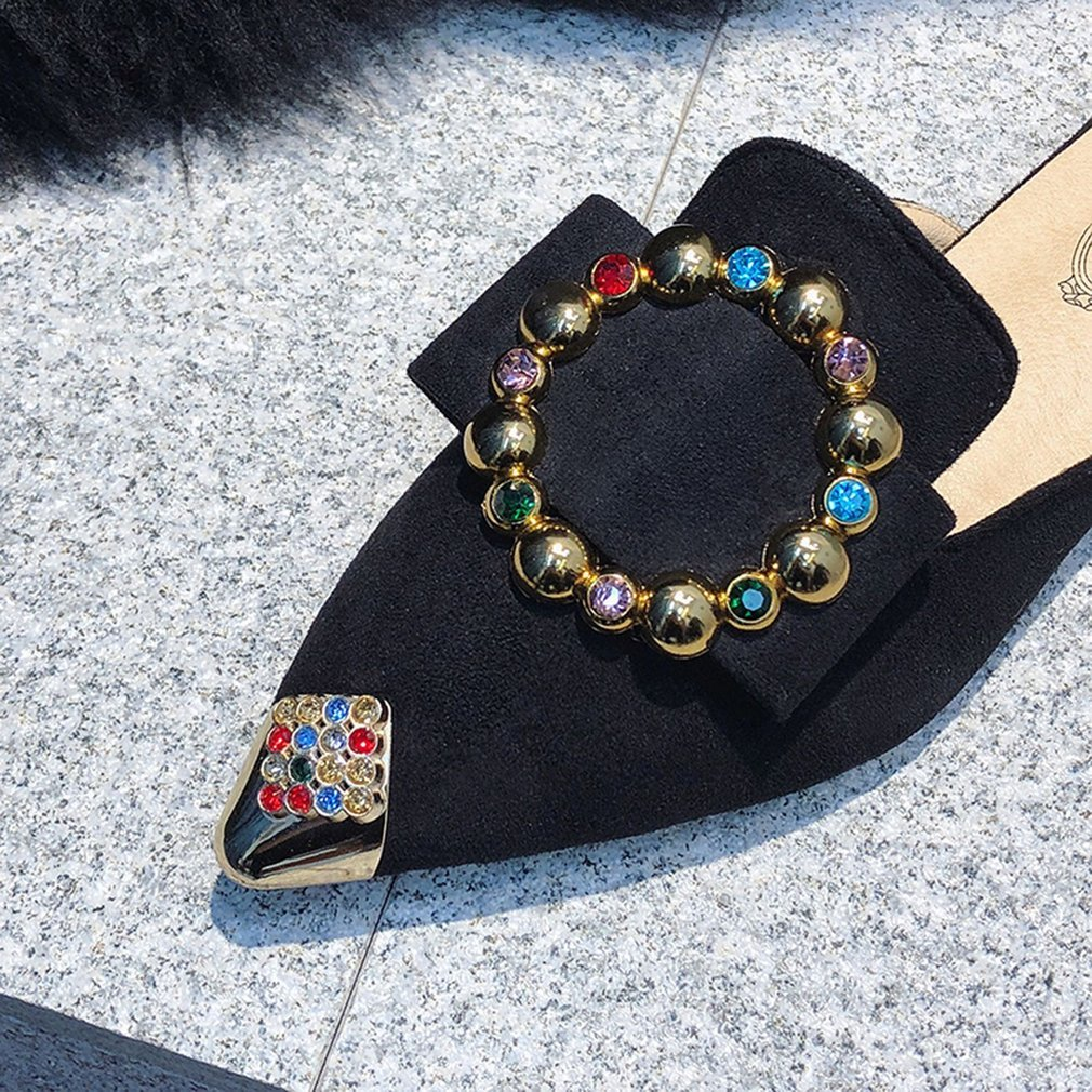 Women Flat Slippers Casual Ladies Pointed Toe High Class Square Rhinestone Buckle Sandals Summer Ladies Shoes for Female