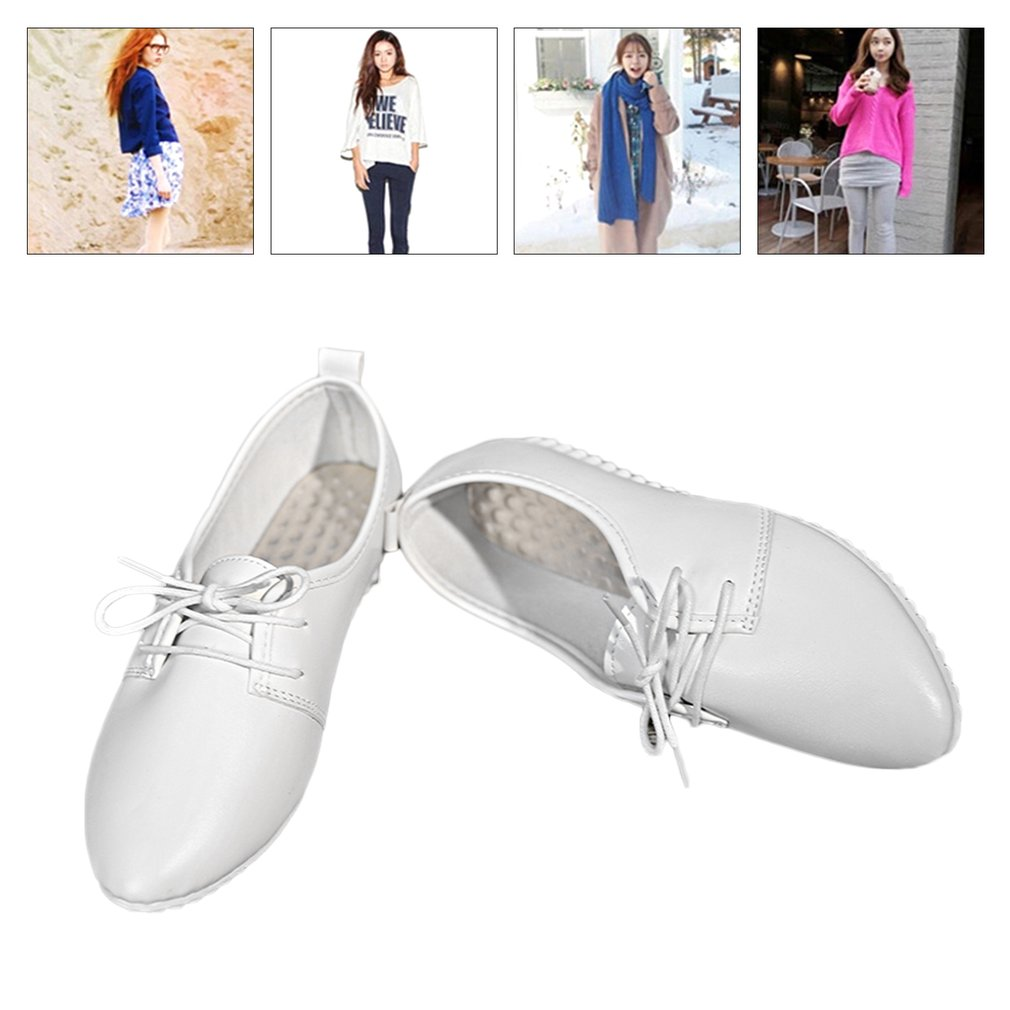 Women Solid Color Casual Lace-up Shallow Mouth Ladies Shoes with Pea Pea Sole