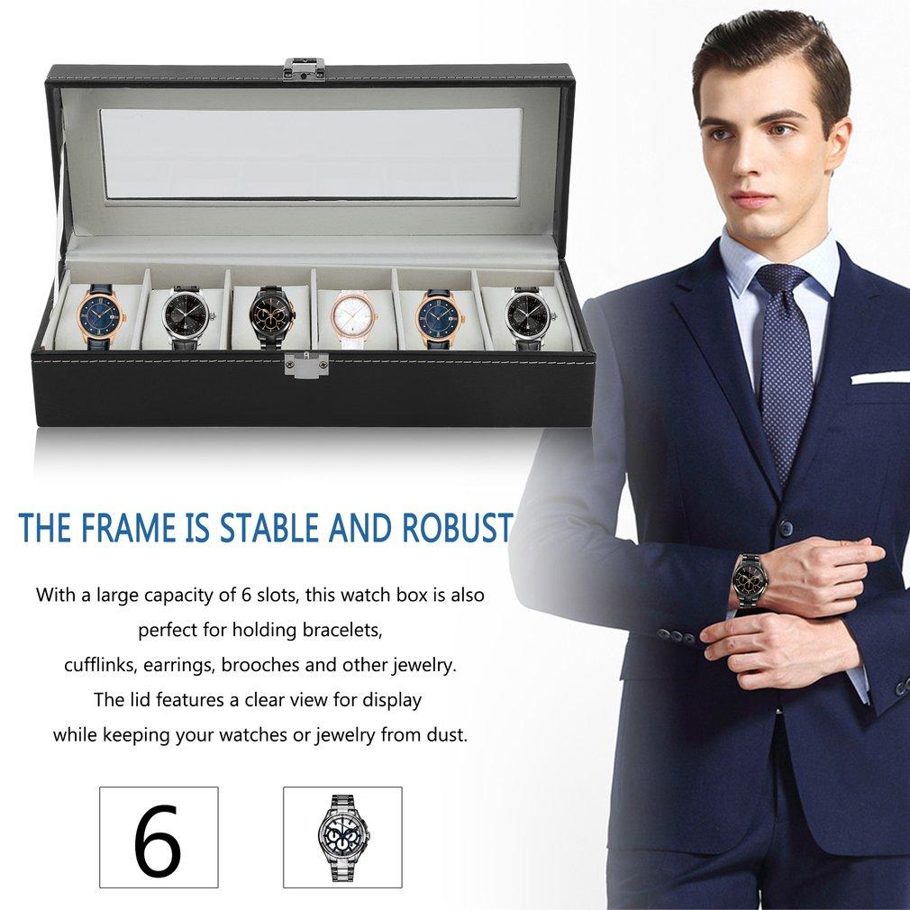 Fashion 6 Grid Casket Watch Winder Boxes PU Leather Storage Watch Case