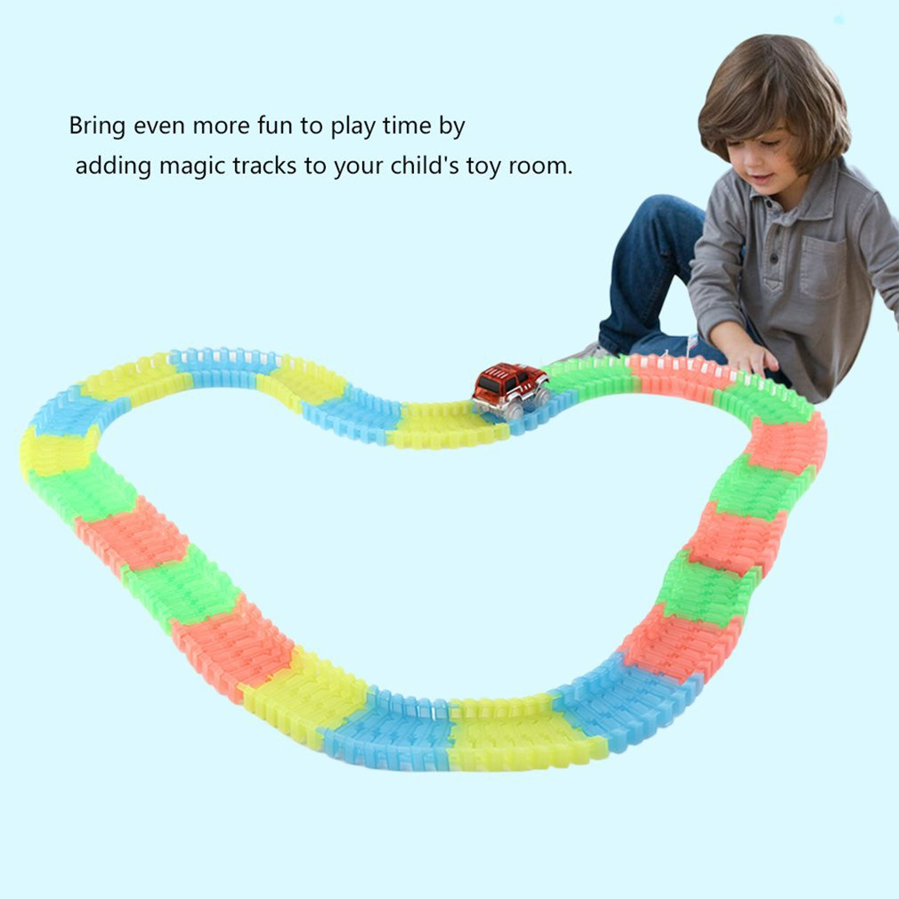 165pcs Kids Children Colorful Plastic Race Track With LED Light Cars Rails Racing Game Toy DIY Puzzle Tracks Car Toys Gift