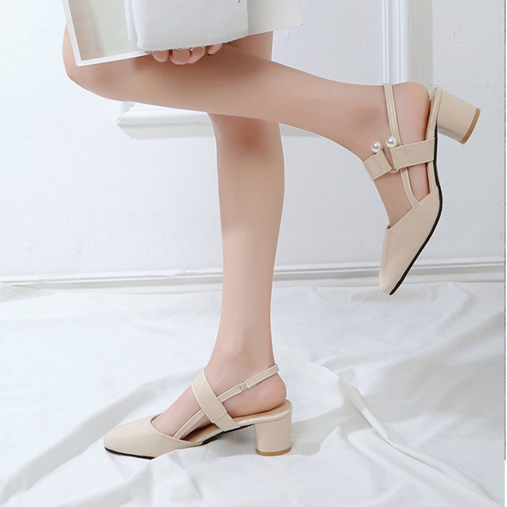 Fashion Chunky Heel Hollow Sandals Wrapped-Toe Square Heeled Shoes Elegant All-match Woman Shoes For Spring Summer