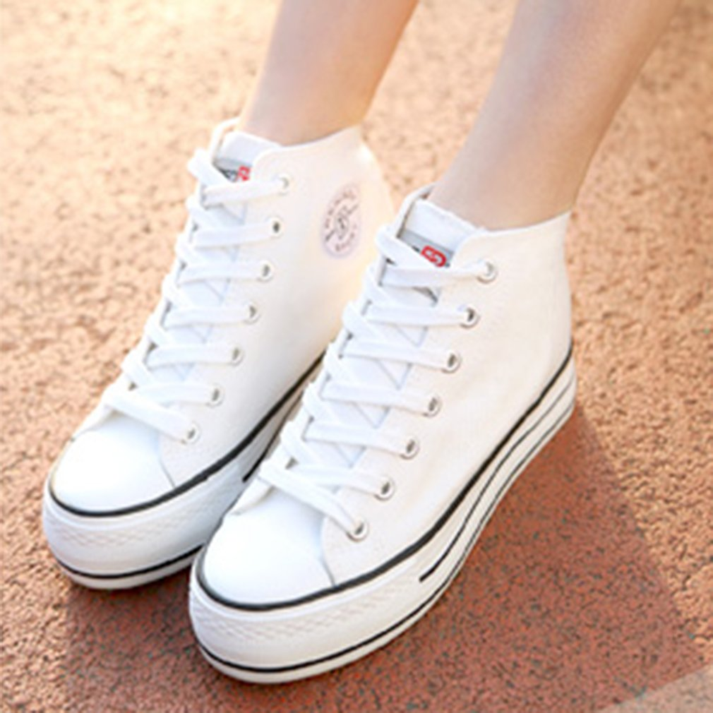 RENBEN 3881 Simple High Top Inner Increased Elevator Shoes Women Canvas Shoes