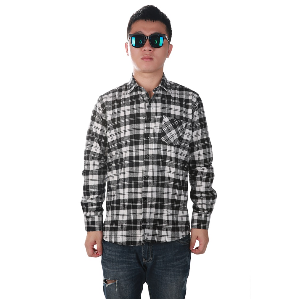 Fashion Mens Button Plaid Shirt Long Sleeve Flannel Plaid Casual Shirt DMM01