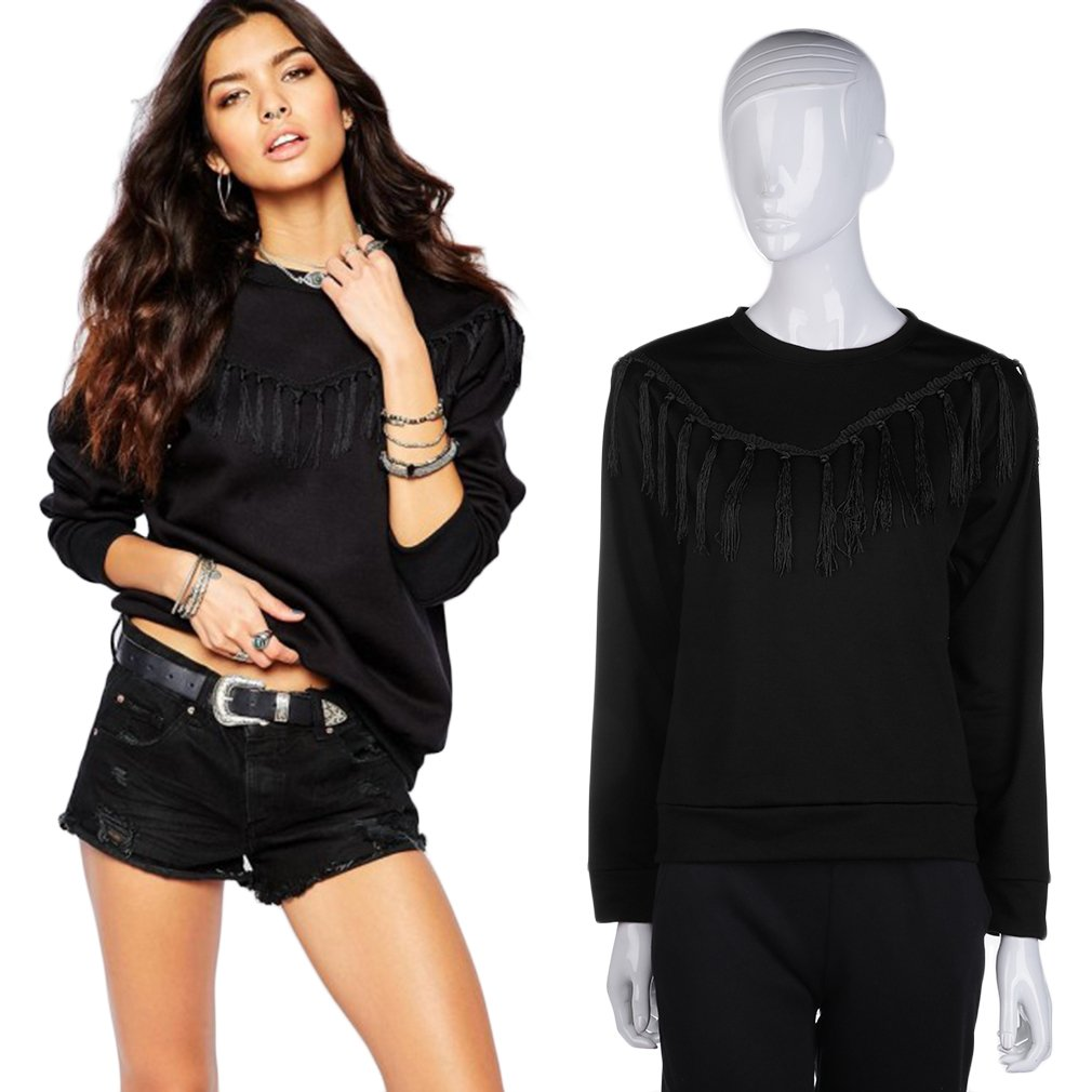 Women Tassel Round Neck Long Sleeve T-shirt Top Blouse Sweater S/M/L/XL