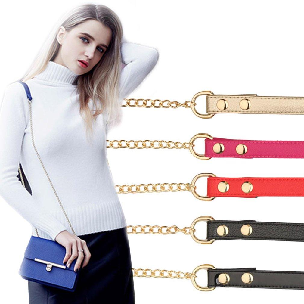 PU Leather Women Bag Strap Adjustable Ladies Handbag Handle With Metal Chain