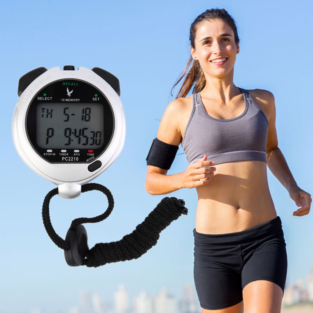 Two Row Digital Handheld Sports Stopwatch Time Counter 10 Lap Memory PC2210