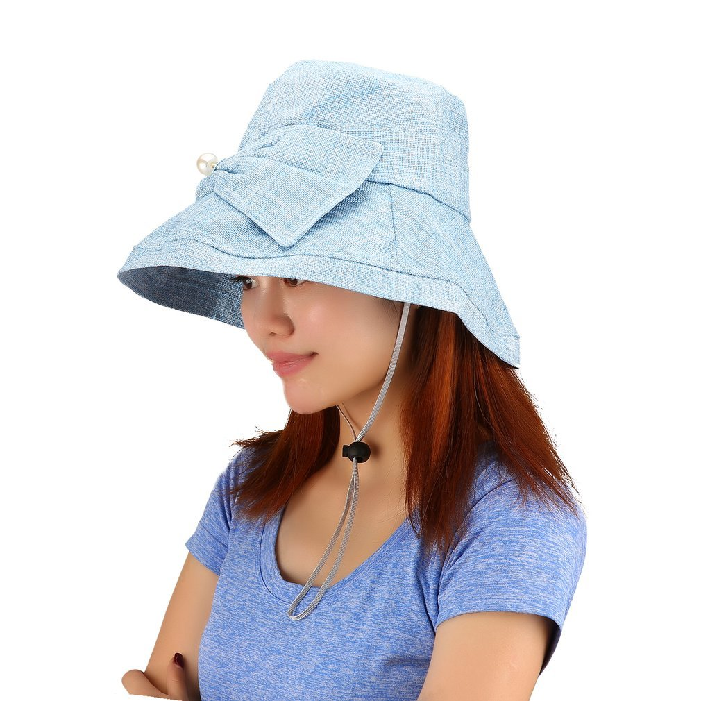 Breathable Cotton UV Protective Women Solid Color Bucket Hat Caps Summer Sunscreen Fisherman Can be Folded Hat