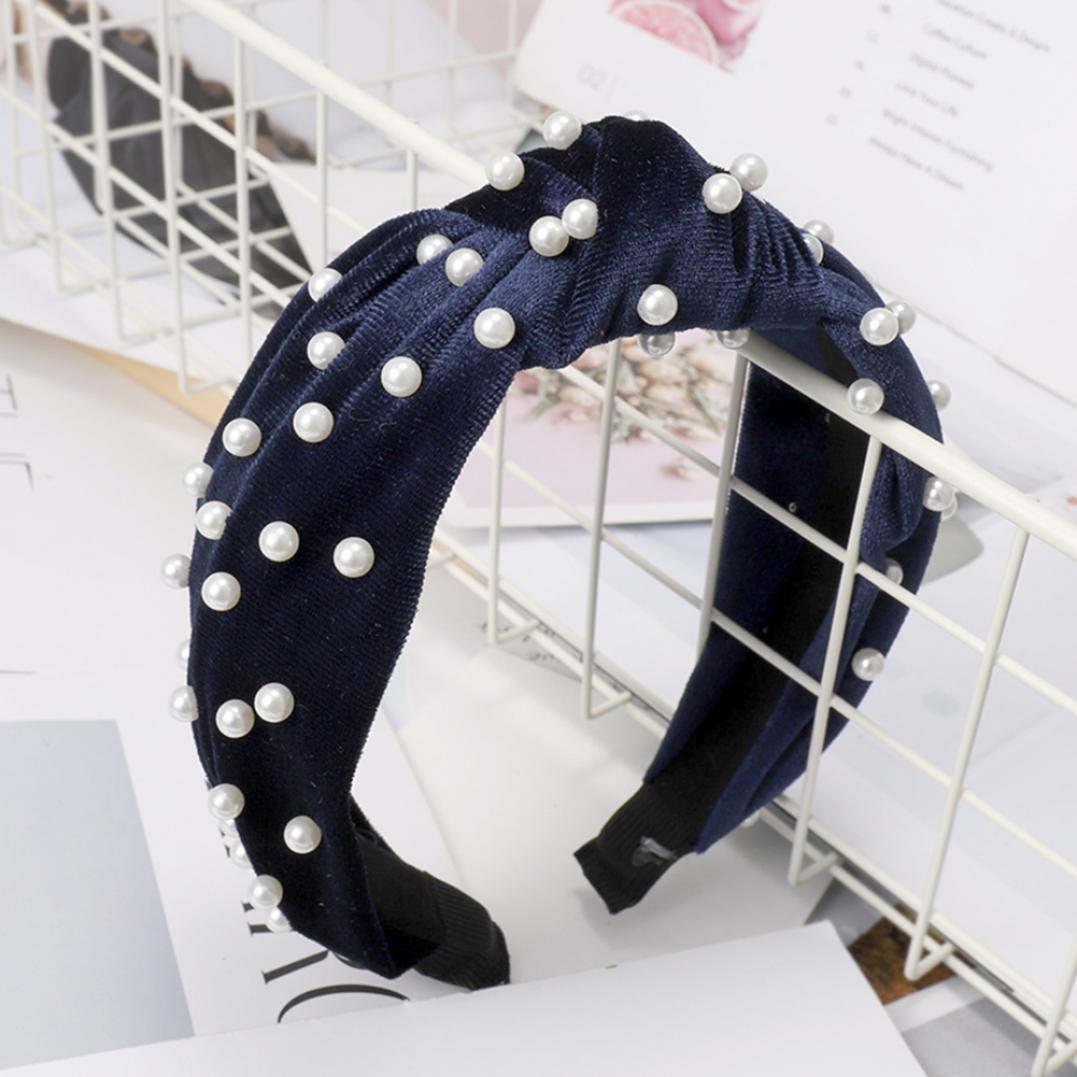 Vintage Twisted Faux Pearl Beading Women Hair Hoop Wide Velvet Headband Headwear