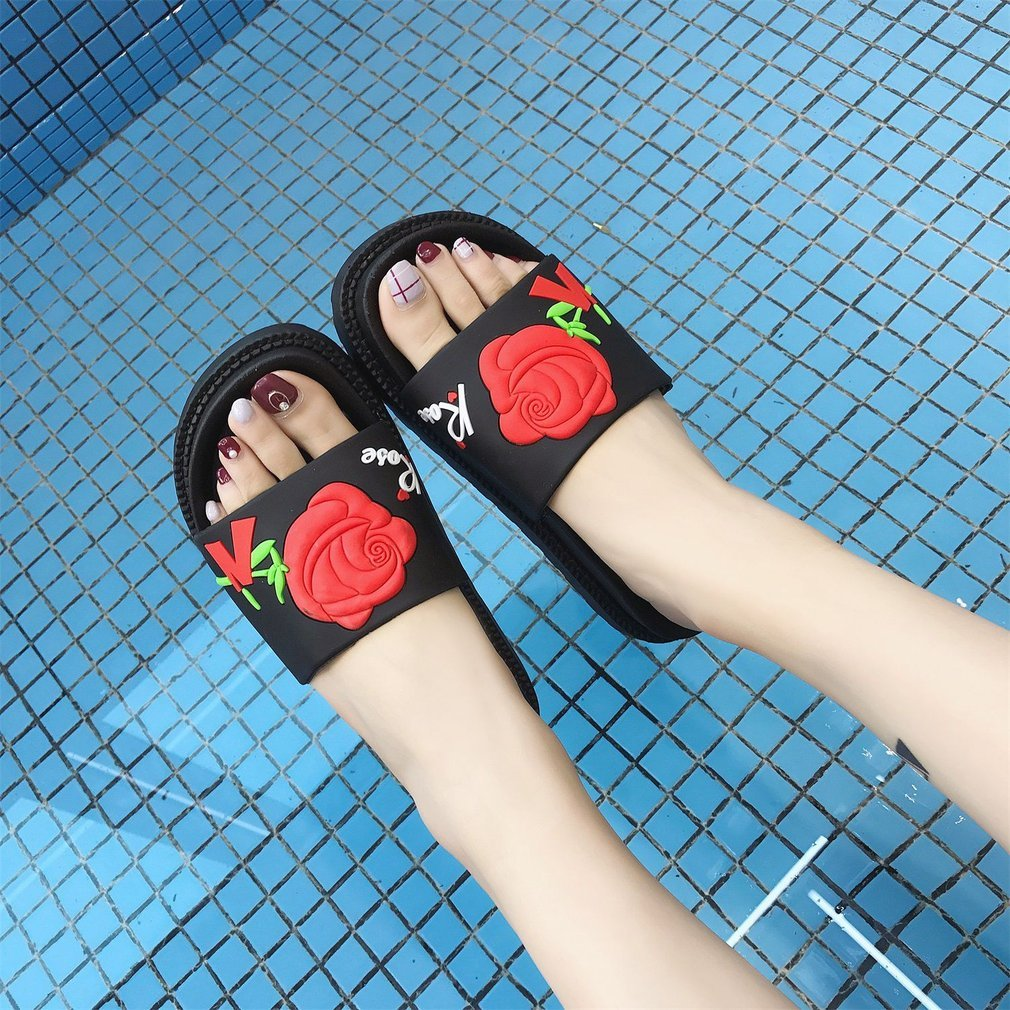 Fashion Rose Flower Printed Sandals Slip-on Slippers Women Platform Shoes Casual Wear Comfortable Summer Beach Shoes