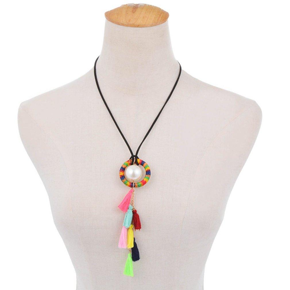 Women Bohemia Ethnic Style Necklace Summer Beach Tassel Sweater Necklace