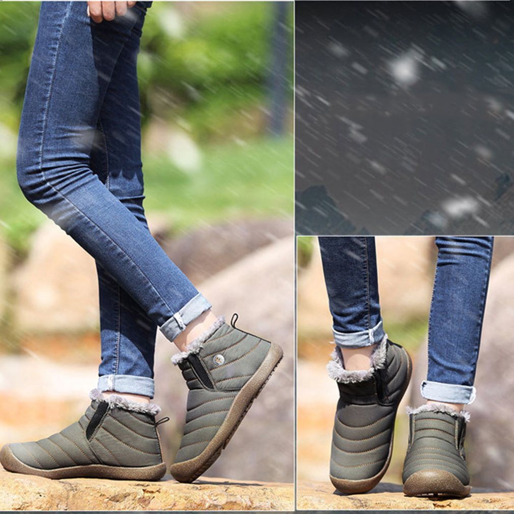 Unisex Snow Boots Solid Color Warming Shoes Slip-on Ankle Boots Couple Shoes