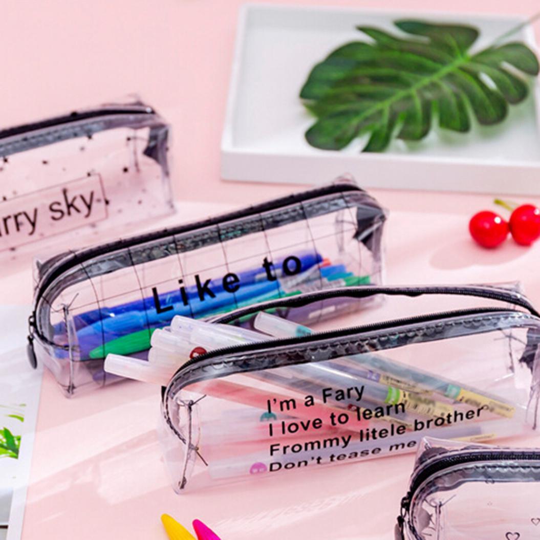 Heart Letter Design Transparent Pencil Bag Stationery Pen Case Storage Pouch