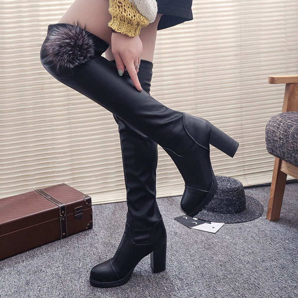 Fashionable Design Women PU Leather Solid Color High Boots High-Heeled Shoes