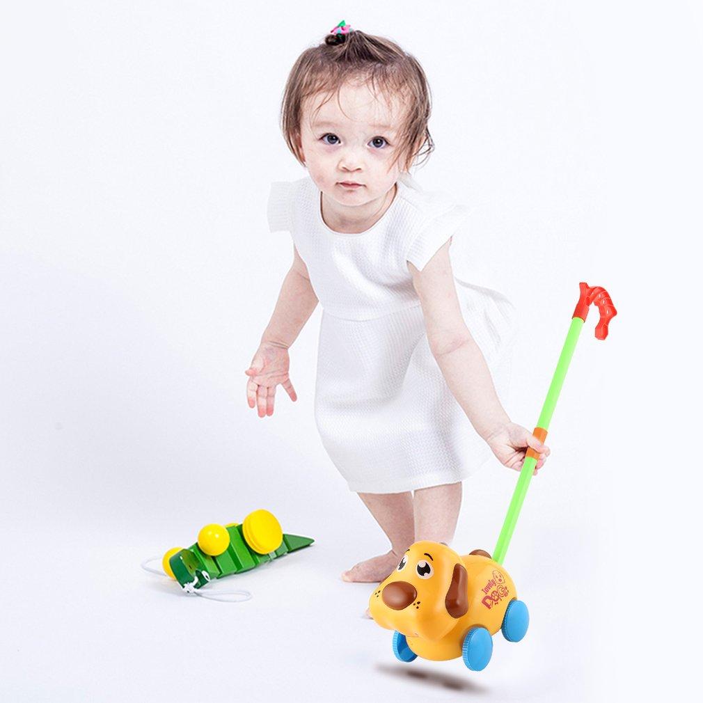 Hand Push Animal Toys Dog Shaped Cartoon Cart Toys Baby/Toddler/Child Walking