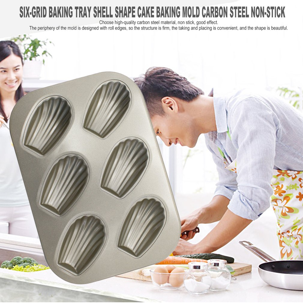 Six-Grid Baking Tray Shell Shape Cake Baking Mold Carbon Steel Non-Stick