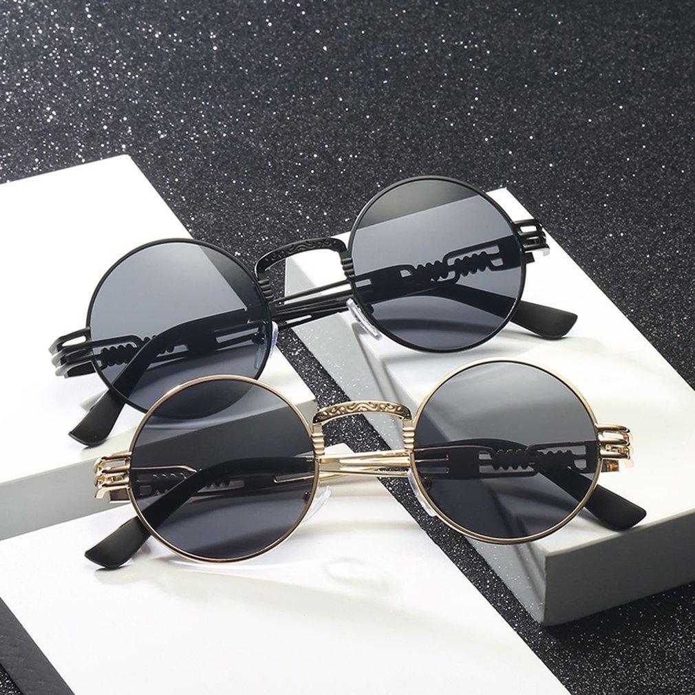 Fashion Steampunk Sunglasses Round Shades Metal Wrap Eyeglasses Brand Designer Men Women Sun Glasses UV400 Mirror