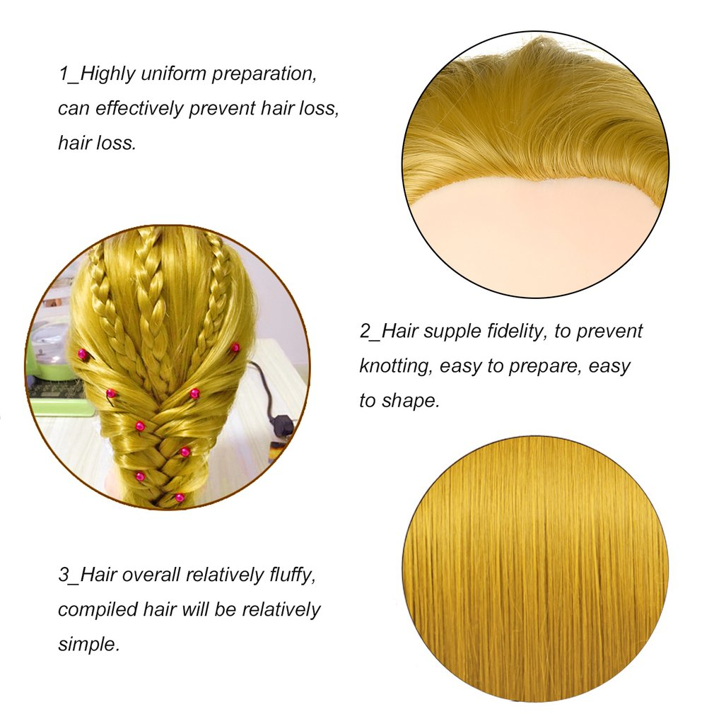 26 inch Golden Long Hair Dolls Heads Training Mannequin Makeup Practice