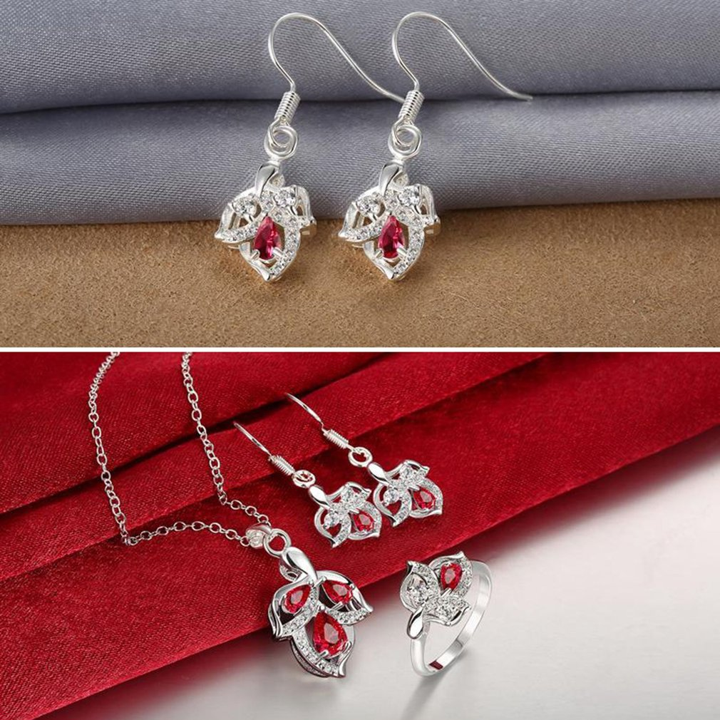 Korean Fashion 3PCS/SET Women Red Zircon Jewelry Set Elegant Ladies Necklace + Earrings + Finger Ring Bridal Jewelry Gift