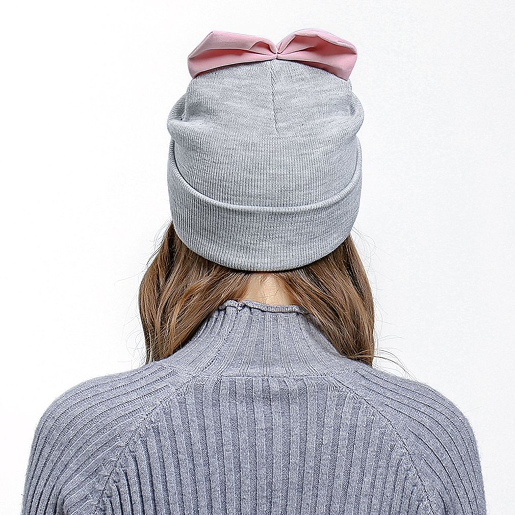 Fashion Autumn Winter Hat Lovely Bow Cap Warm Knitted Hat Beanie Women Hat