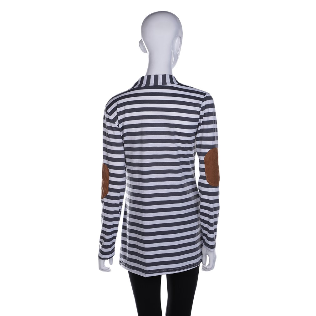 Women Striped Cardigan Loose Sweater Coat Outwear Blouse Jacket Coat Top