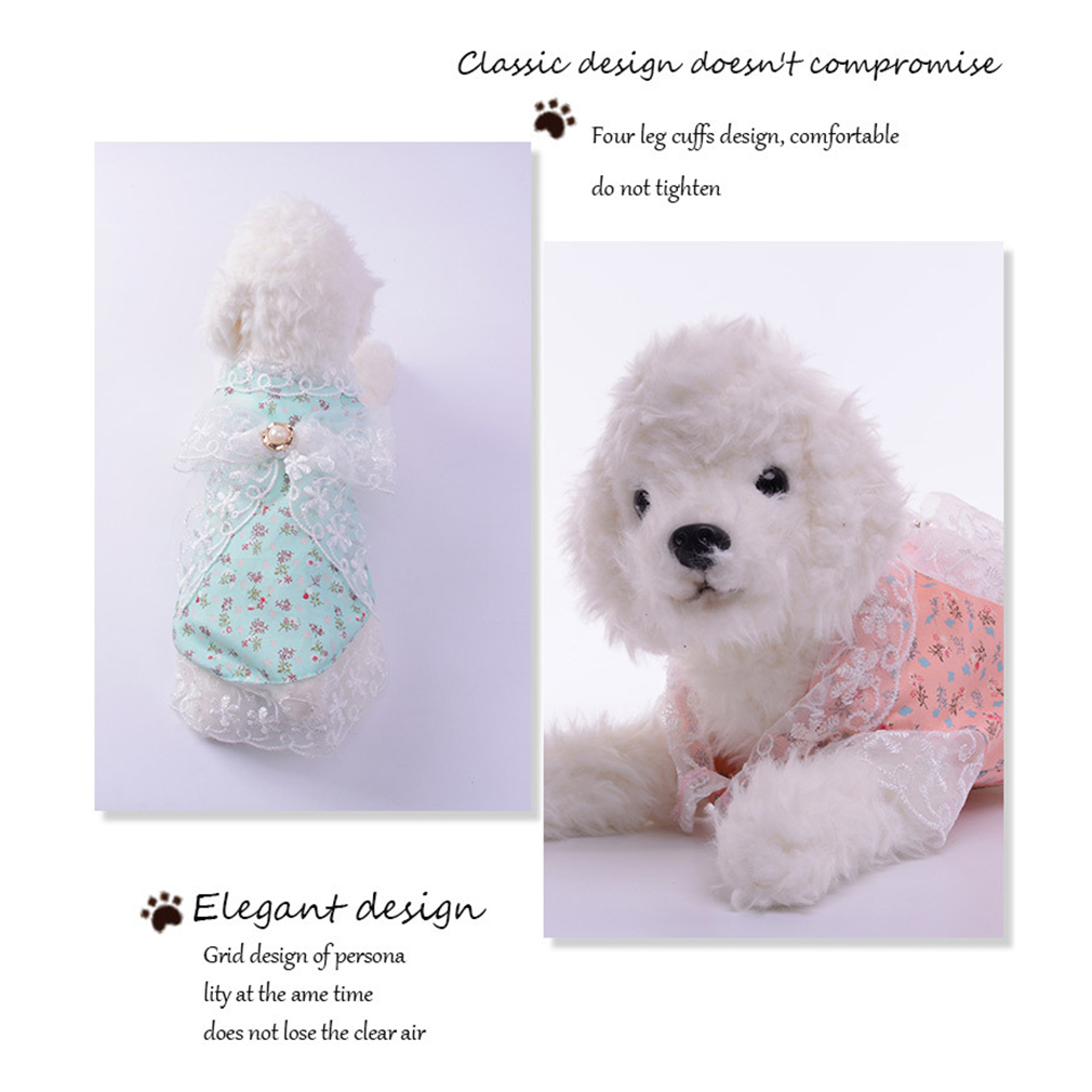 Floral Printing Pet Lace Princess Dress With Lace Bow Decoration For Small Dog