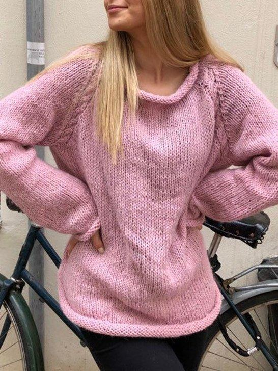Pink O-Neck Casual Solid Sweater