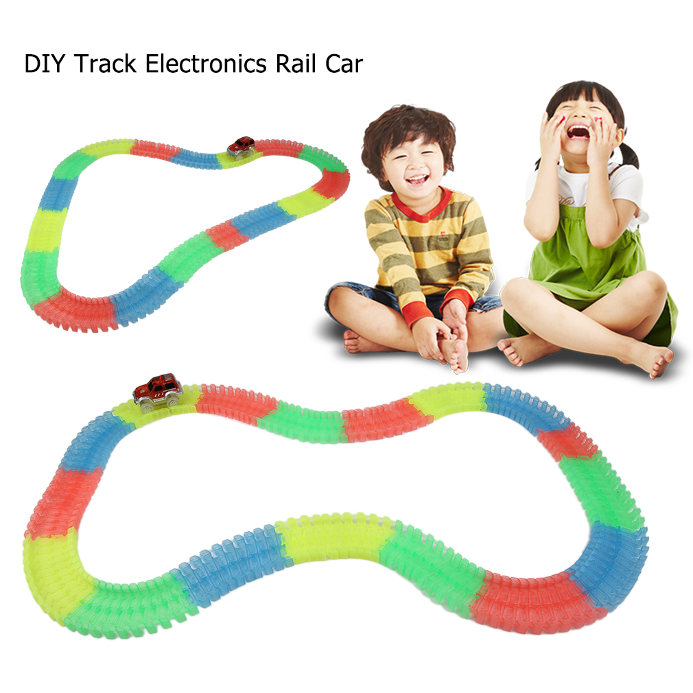 DIY Fun Puzzle Toy Car Track Electronics Rail Car Toys for Children Boys